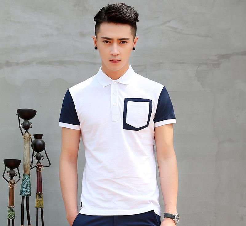 韩版2015夏季男士翻领短袖修身pl衫口袋装饰青年男式打底衫